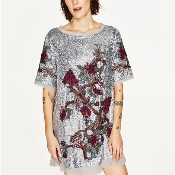 Zara Sequin Embroidered Floral Dress